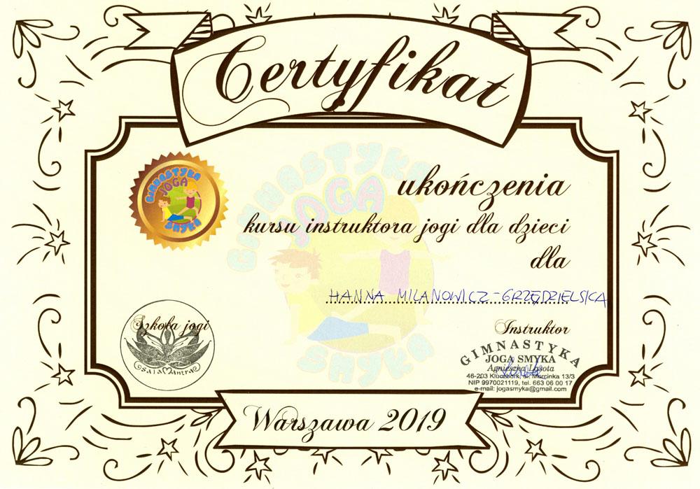 certyfikat joga dla dzieci