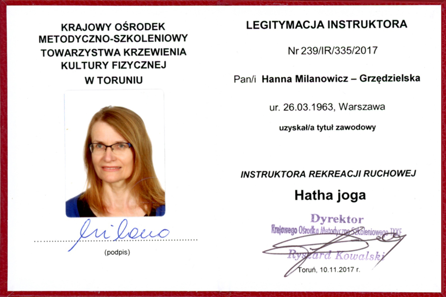 legitymacja instruktor hatha joga
