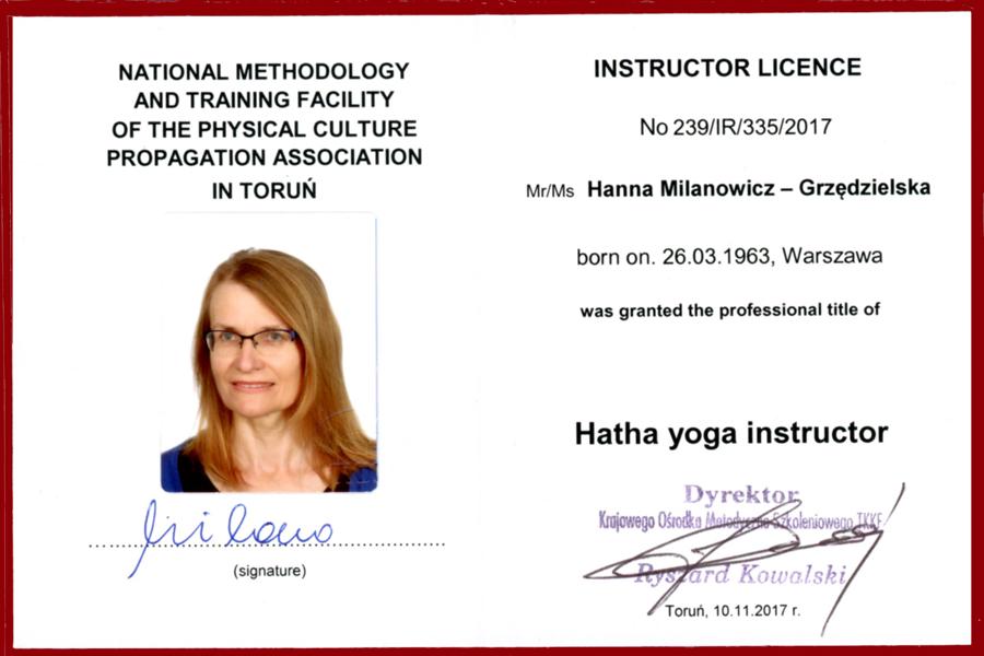 legitymacja instruktor hatha yoga