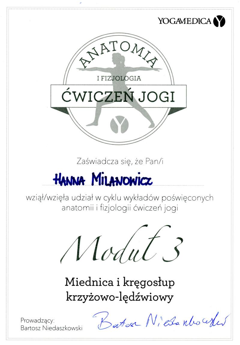 certificate - Anathomy and physiology of yoga practice - Yoga Medica, Bartosz Niedaszkowski